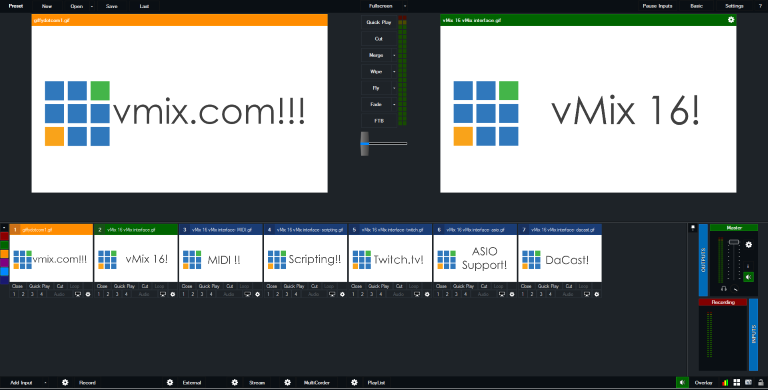 vMix 16 Interface