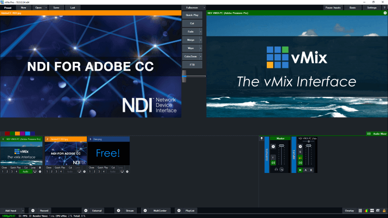 Newtek NDI Adobe vMix